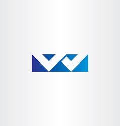 logo letter w blue sign icon design logotype vector image