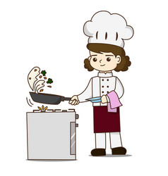 pretty chef making delicious food she tossing vector image vector image