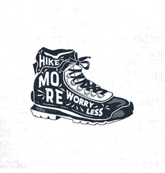 vintage hand drawn hiking boots footwear t shirt vector image