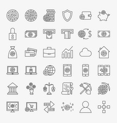cryptocurrency line icons set vector image
