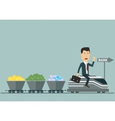 flat businessman on the train with wagons vector image vector image