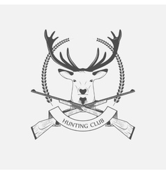 Hunting Club icon with a rifle and deer vector image vector image