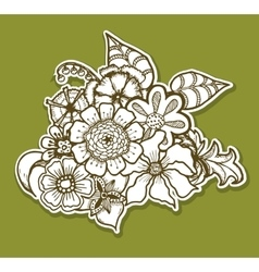 Ornate floral pattern with flowers Doodle sharpie vector image