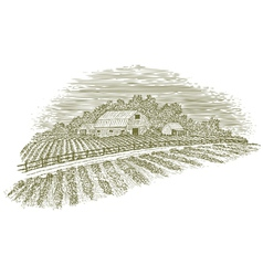 Woodcut Farm Road vector image vector image