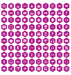 100 audio icons hexagon violet vector image