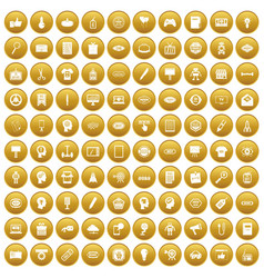 100 creative marketing icons set gold vector