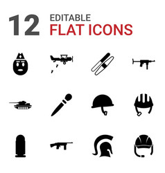 12 army icons vector