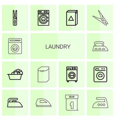 14 laundry icons vector image