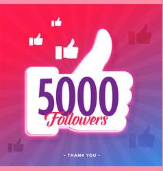 5000 followers on social media template vector
