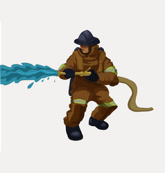 A fireman with a water hose vector