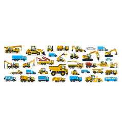 a large set of construction equipment vector image