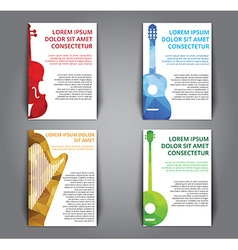 A set of brochures with polygonal musical vector image