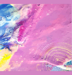 Abstract hand painted background mixed paints vector