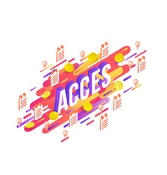 access gradient isometric text design and business vector image