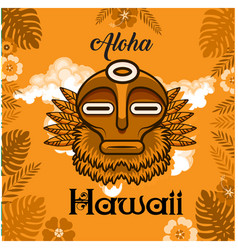 aloha hawaii tribal mask leaves background vector image