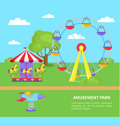 Amusement park sightseeing wheel merry-go-round vector