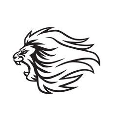 Angry lion roaring logo mascot icon vector