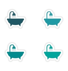 Assembly realistic sticker design on paper bath vector