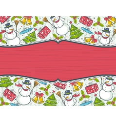 background with christmas elements and red label f vector image