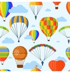 Ballon aerostat transport seamless pattern vector image