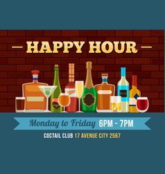 Bar happy hour poster alcoholic drinks offer for vector