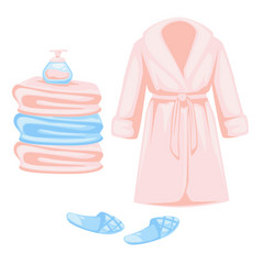 Bathrobe and slippers towels stack and soap vector