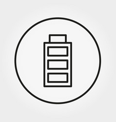battery with a full charge icon line vector image