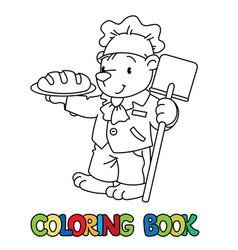 bear baker abc coloring book alphabet b vector image