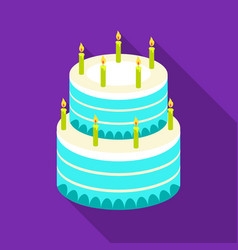 Birthday cake icon in flate style isolated on vector