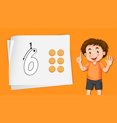 Boy showing number six vector