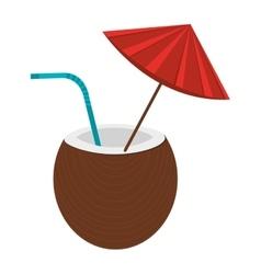 Brown coconut with umbrella graphic vector