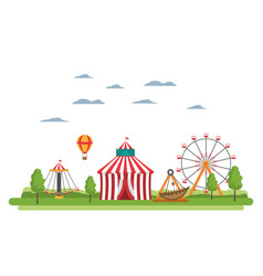 Carnival with circus and mechanical ride games vector
