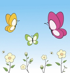 Cartoon Butterflies and Flowers vector