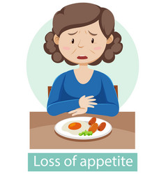 Cartoon character with loss appetite symptoms vector