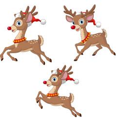 cartoon christmas reindeers wearing santa claus vector image