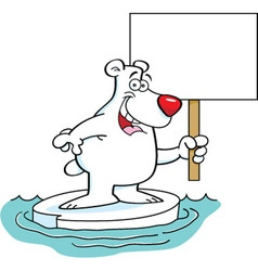 Cartoon polar bear holding a sign vector image