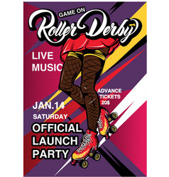 Cartoon rollerscate derby advertising poster vector