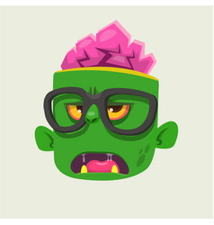 Cartoon zombie face wearing eyeglasses cartoon vector