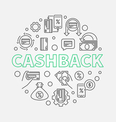 Cashback outline round cash vector