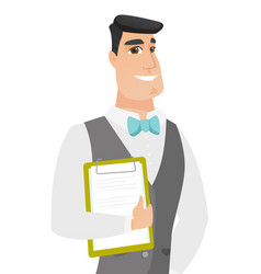 Caucasian groom holding clipboard with documents vector