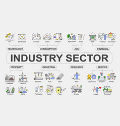 Chart industry sector concept vector