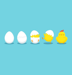 chicken hatching cracked chick egg hatch eggs vector image