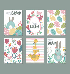 collection of six easter cards with rabbits vector image