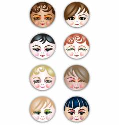 cute girls face icons vector image
