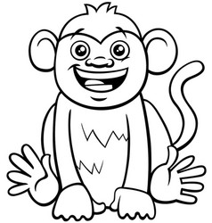 Cute monkey character cartoon coloring book vector