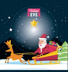 cute santa claus in sled character vector image
