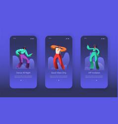 dancing jazz characters landing page set vector image