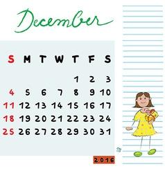 December 2016 kids vector