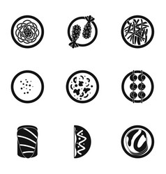 Delicious japanese food icons set simple style vector