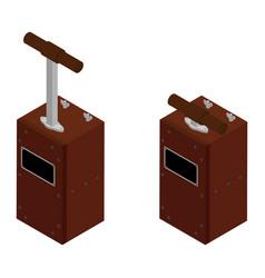 Detonator boxes blasting machine isolated on vector
